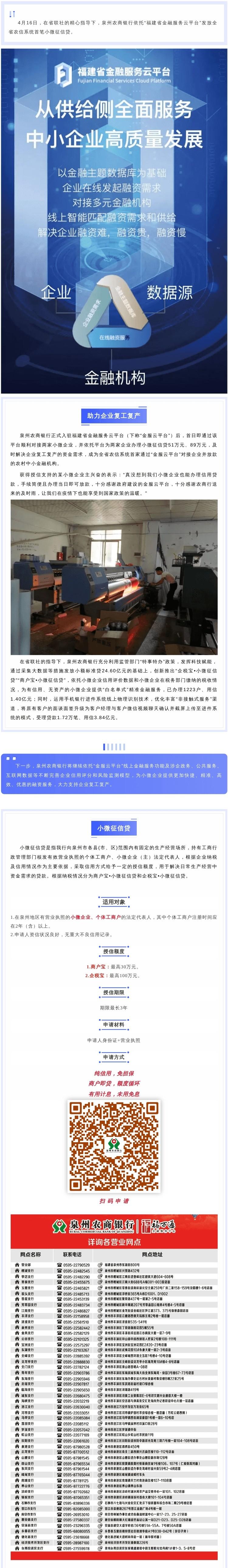 """泉州农商银行依托""""金服云平台""""发放全省农信系统首笔小微征信贷"""